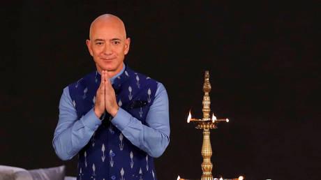 Jeff Bezos attends a company event in New Delhi, January 15, 2020 © Reuters / Anushree Fadnavis