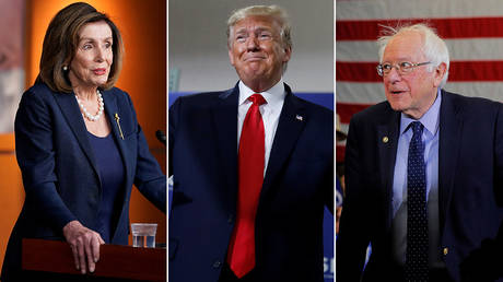 Nancy Pelosi, Donald Trump, and Bernie Sanders © Reuters / Joshua Roberts, Carlos Barria, and Brian Snyder