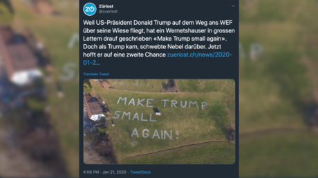 'Make Trump Small Again': Swiss protester targets Trump's helicopter with giant banner (PHOTO)