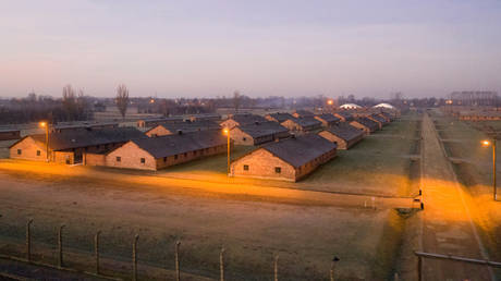 FILE PHOTO: An aerial photo shows barracks and buildings of former Nazi German Auschwitz-Birkenau concentration camp complex in Oswiecim, Poland.