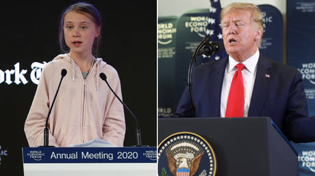 Greta Thunberg and Donald Trump speak at the World Economic Forum in Davos, Switzerland © Reuters / Denis Balibouse and Jonathan Ernst