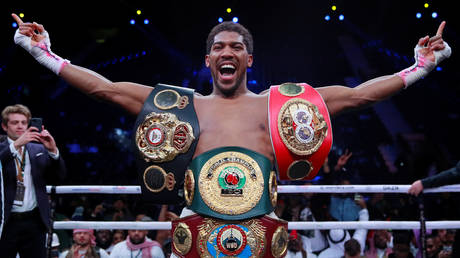 Anthony Joshua celebrates winning his match against Andy Ruiz Jr. © Action Images via Reuters / Andrew Couldridge