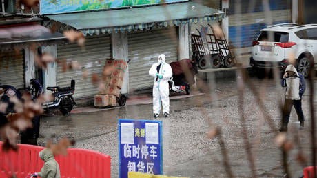 FILE PHOTO: A worker in a protective suit is seen at the closed seafood market in Wuhan, China, the suspected origin point of a novel coronavirus gripping the country.