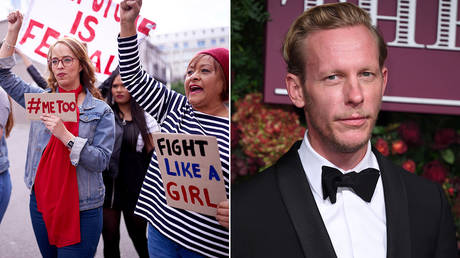 Feminist protesters and Laurence Fox © Getty Images / Karwai Tang
