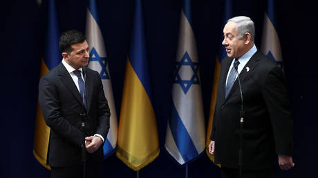 Israeli Prime Minister Benjamin Netanyahu speaks with Ukrainian President Volodymyr Zelensky, January 24, 2020 © Oded Balilty/Pool via REUTERS