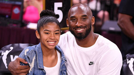 Kobe Bryant with daughter Gianna WNBA All Star Game at Mandalay Bay Events Center.