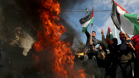 Palestinians protest ahead of US President Donald Trump's announcement of his Midle East peace plan, in Gaza City, on January 28, 2020.