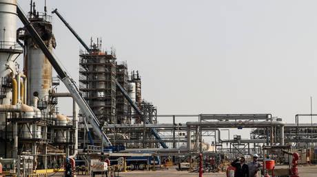 FILE PHOTO. A view shows the damaged site of Saudi Aramco oil facility in Abqaiq.