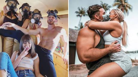 YouTuber Logan Paul and an assortment of models (left); German influencer 'Fitness Oskar' and his girlfriend (right). © Instagram/Loganpaul/Fitnessoskar