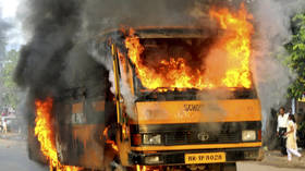 Massive fire & series of explosions after Indian gas truck hits SCHOOL BUS in head-on collision (VIDEOS)