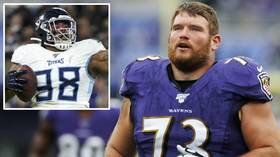 Spitting mad: Ravens lineman Yanda accuses Titans' Simmons of SPITTING in his face during NFL Playoffs clash (VIDEO)
