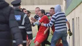 Maltese meltdown: Player arrested during match for ATTACKING assistant referee (VIDEO)