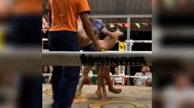 A classic double KO! Thai fighters sent to floor after landing the same punch at the same time (VIDEO)