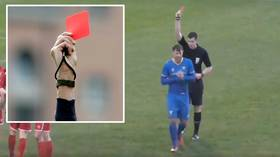 Seeing red! Non-league footballer issued with THREE cards after committing scything fouls just seconds apart (VIDEO)