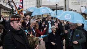 'Like storming the beaches all over again': Brexit Party evokes WWII rhetoric as MEPs leave Brussels to sound of bagpipes (VIDEOS)