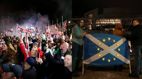 (Left) People wave flags as they celebrate Britain leaving the EU in London, Britain, January 31, 2020. © REUTERS/Henry Nicholls (Right)  People hold a Scottish flag in Edinburgh, Scotland, Britain © REUTERS/Russell Cheyne
