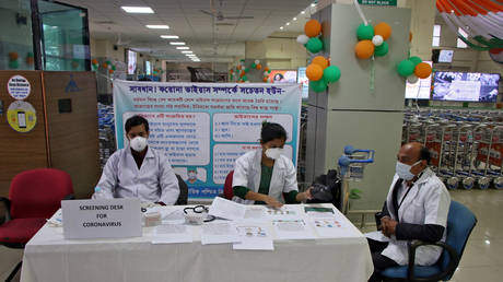 A health desk is set up to screen travelers for signs of the coronavirus at Maharaja Bir Bikram Airport in Agartala, India, January 31, 2020.