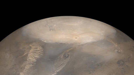 NASA captured an enormous ice collapse at Mars' north pole. © NASA/JPL/Malin Space Science Systems