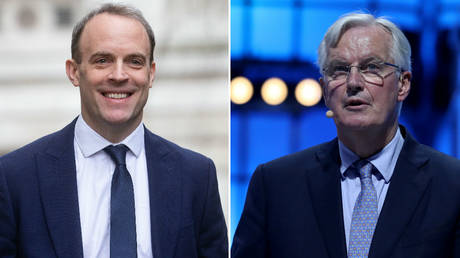 Dominic Raab (left) says Michel Barnier (right) is wrong about the need for border checks. © Global Look Press