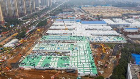 An aerial view shows the newly completed Huoshenshan Hospital taken on February 2, 2020. ©China Daily via REUTERS
