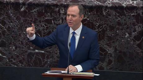 Adam Schiff addressing the Senate