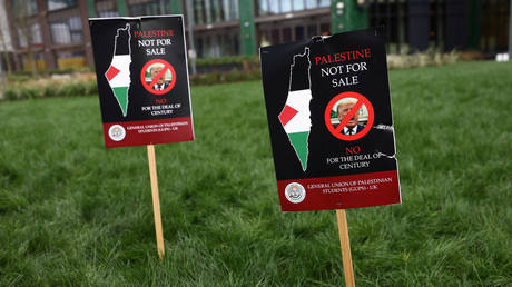 Protest signs are stuck into a lawn during a demonstration against US President Donald Trump's Middle East peace plan in London. February 1, 2020. © Reuters / Simon Dawson