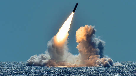FILE PHOTO: Trident II D5 missile test-launched from the US ballistic missile submarine