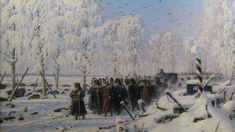 A painting by Vassily Vereshchagin shows the French infantry column, led by Napoleon, retreat after a series of defeats near Minsk © Wikimedia Commons