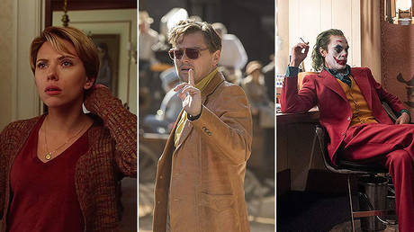 (L) 'A Marriage Story' Dir. Noah Baumbach (2019) ©  Netflix; (C) 'Once Upon a Time in Hollywood' Dir. Quentin Tarantino (2019) ©  Sony Pictures; (R) 'Joker' Dir. Todd Phillips ©  Warner Bros