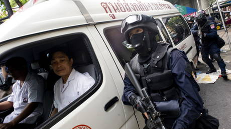 FILE PHOTO: Thai special forces stand near an ambulance