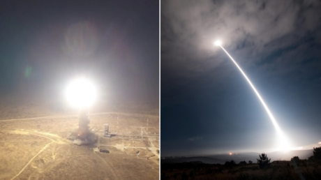 (L) Russian RS-12M Topol ICBM test ©Russian Defence Ministry / handout via Sputnik; (R) US Minuteman III ICBM test © US Air Force / handout via Reuters