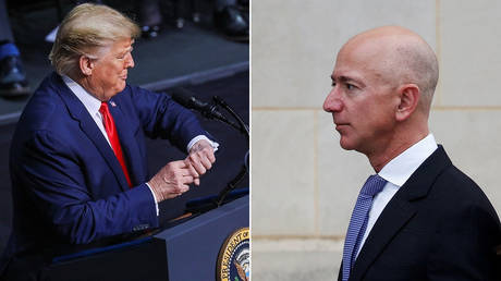 Amazon CEO Jeff Bezos (right) says US President Donald Trump (left) cost him the $  10 billion Pentagon cloud computing contract ©  REUTERS/Leah Millis;  REUTERS/Joshua Roberts