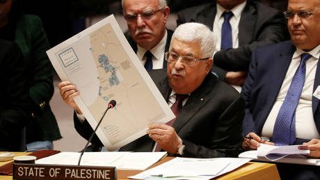 Palestinian President Mahmoud Abbas speaks at the UNSC meeting in New York, US on February 11, 2020.