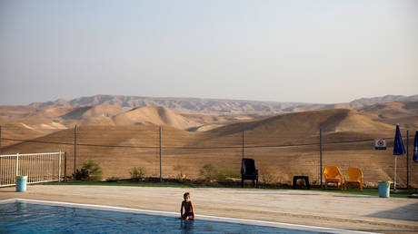 A swimming pool in the West Bank settlement of Vered Yericho © Reuters / Ronen Zvulun