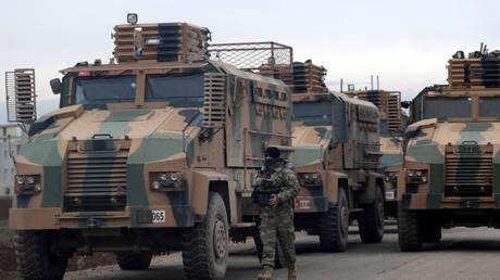 A convoy of Turkish military vehicles in Hazano near Idlib, Syria, February 11, 2020.