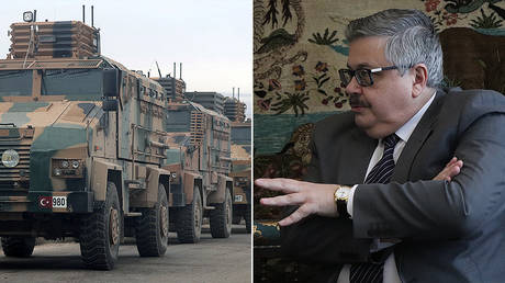 (L) Turkish military vehicles are seen in Hazano near Idlib, Syria, February 11, 2020. © REUTERS/Khalil Ashawi; (R) Aleksei Erkhov, Russian ambassador to Turkey © Twitter / RusEmbTurkey