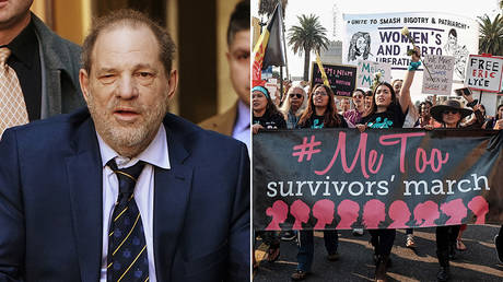 (L) Film producer Harvey Weinstein © REUTERS/Carlo Allegri; (R)  #MeToo March on November 10, 2018 in Hollywood, California © AFP / GETTY IMAGES NORTH AMERICA / Sarah Morris