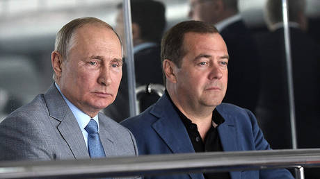 FILE PHOTO Vladimir Putin and Dmitry Medvedev © Sputnik / Alexey Nikolskii