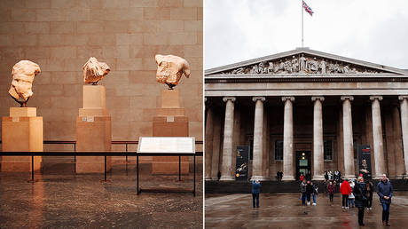 (Left) Parthenon Marbles and (Right) British Museum in London © Global Look Press / David Cliff