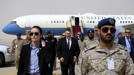 US Secretary of State Mike Pompeo arrives at the Prince Sultan air base in Al-Kharj, Saudi Arabia, February 20, 2020