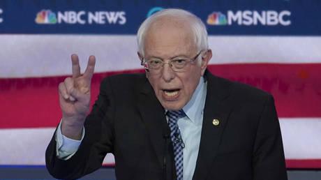Senator Bernie Sanders speaks at the Democratic 2020 US Presidential candidates debate in Las Vegas, Nevada, February 19, 2020