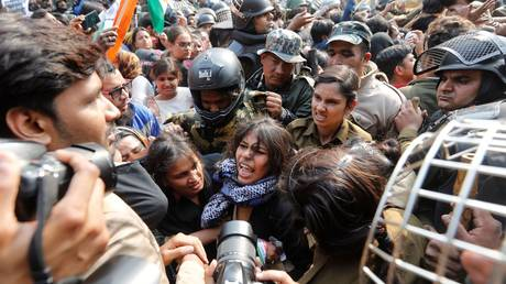 During a protest against a new citizenship law outside the Jamia Millia Islamia university in New Delhi