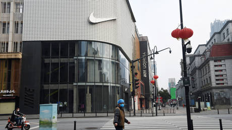 Deserted shopping district of Wuhan, in China's Hubei province, the epicenter of the COVID-19 coronavirus outbreak, February 25, 2020.
