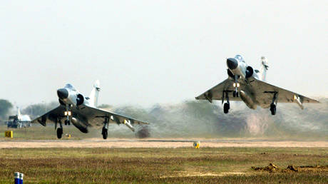 FILE PHOTO: Indian Air Force Mirage 2000 fighters take off during a joint air exercise in the central Indian city of Gwalior.
