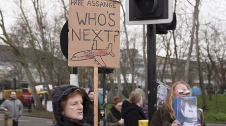 Supporters of WikiLeaks founder Julian Assange outside Woolwich Crown Court © Getty Images / In Pictures / Claire Doherty