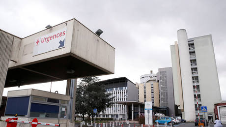 FILE PHOTO. View of the main entrance of Creil's hospital, where people tested positive for coronavirus have been treated.