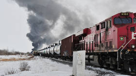 Canada train derails and crude oil catches fire only months after similar crash 11 km away (VIDEO)
