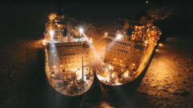 Arctic kiss: Two Russian nuclear icebreakers rendezvous in spectacular night-time DRONE FOOTAGE