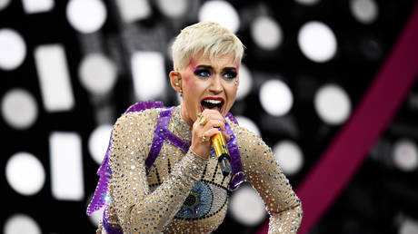 Katy Perry performing at Worthy Farm in Somerset during Glastonbury Festival
