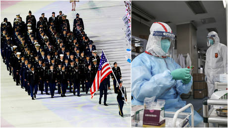 FILE PHOTOS: (L) Members of the US team during the opening ceremony of the 7th Military World Games in Wuhan, China; (R) A medical worker in protective suit prepares for an RNA test at Jinyintan hospital in Wuhan.